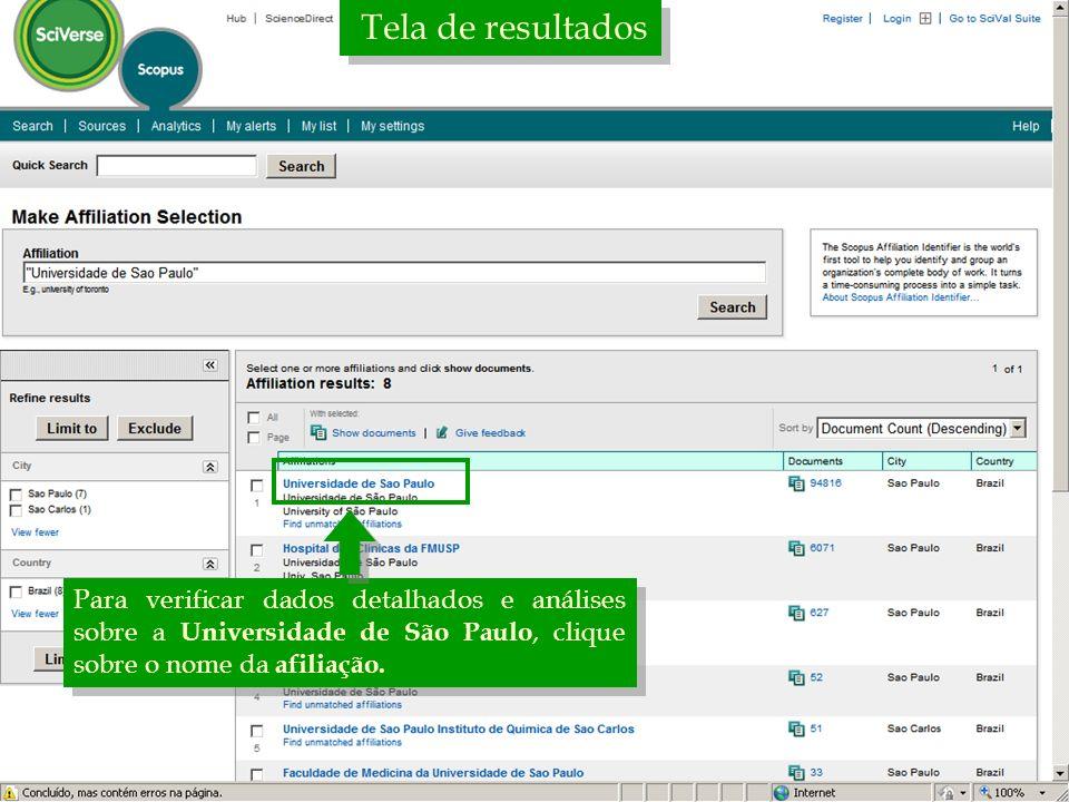 Tela de resultados Para verificar dados detalhados e análises sobre a Universidade de São Paulo, clique sobre o nome da afiliação.