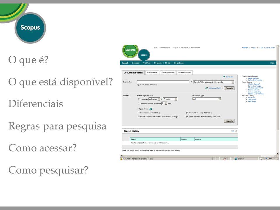 O que é O que está disponível Diferenciais Regras para pesquisa Como acessar Como pesquisar