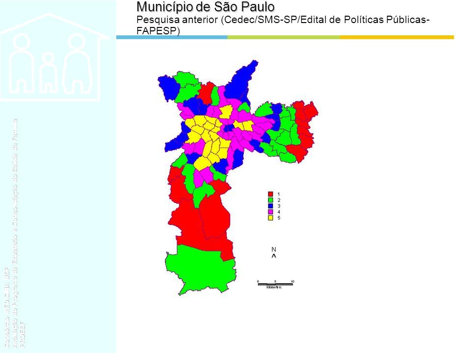 Município de São Paulo Pesquisa anterior (Cedec/SMS-SP/Edital de Políticas Públicas-FAPESP)