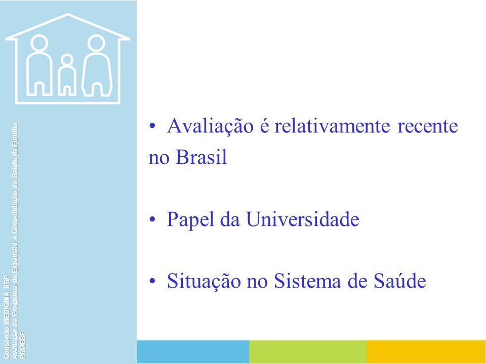 Avaliação é relativamente recente no Brasil Papel da Universidade
