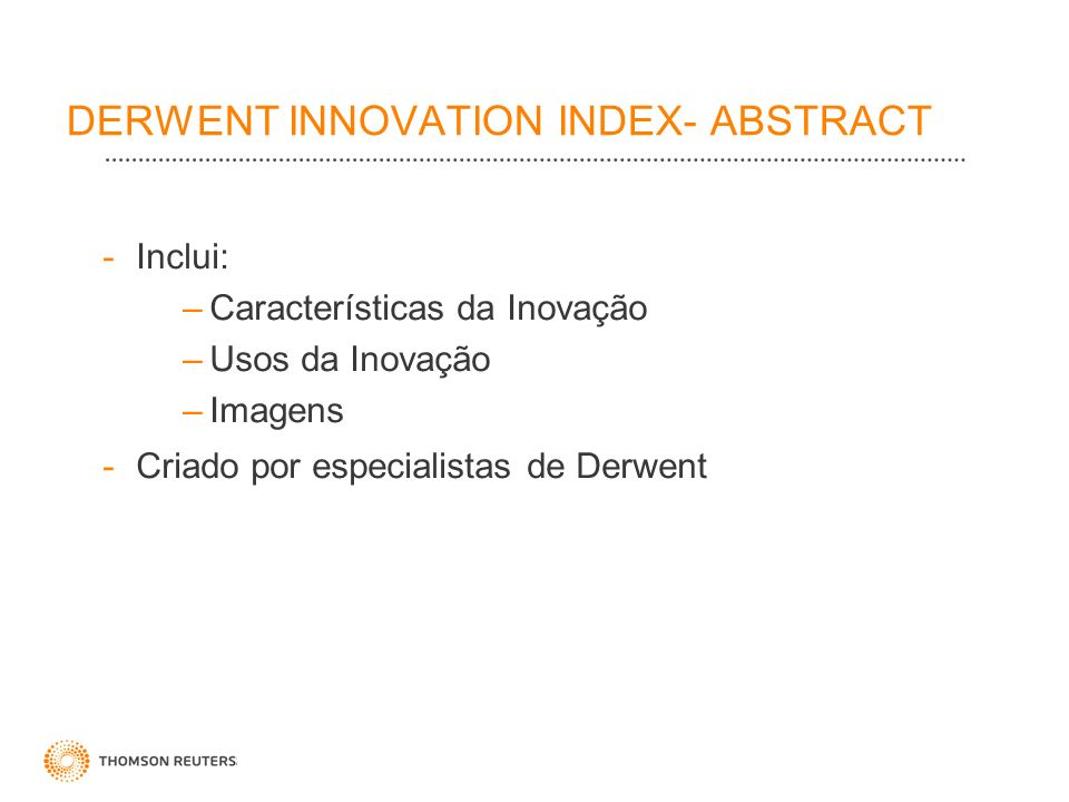 DERWENT INNOVATION INDEX- ABSTRACT