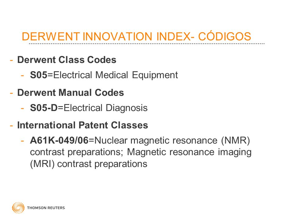 DERWENT INNOVATION INDEX- CÓDIGOS