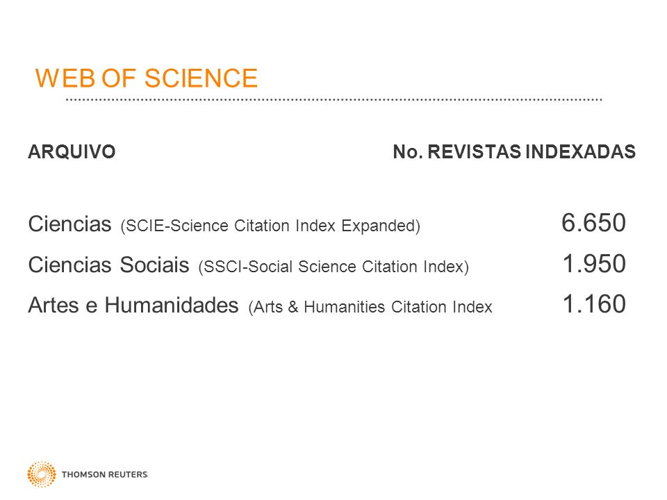 WEB OF SCIENCE Ciencias (SCIE-Science Citation Index Expanded) 6.650