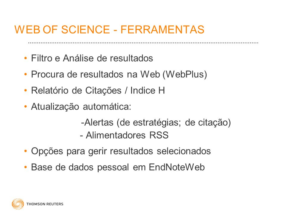 WEB OF SCIENCE - FERRAMENTAS