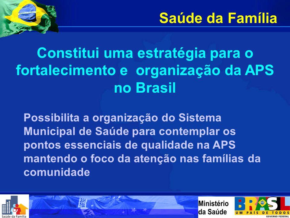 Saúde da Família Constitui uma estratégia para o fortalecimento e organização da APS no Brasil.