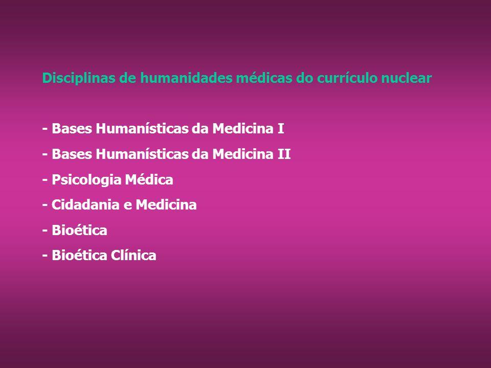 Disciplinas de humanidades médicas do currículo nuclear - Bases Humanísticas da Medicina I - Bases Humanísticas da Medicina II - Psicologia Médica - Cidadania e Medicina - Bioética - Bioética Clínica