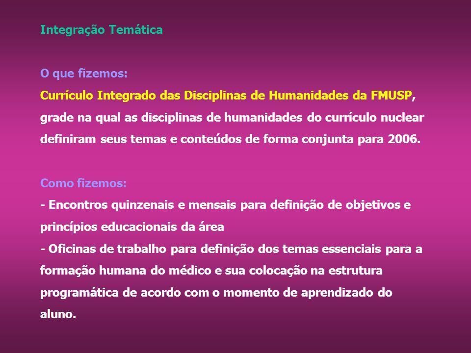 Integração Temática O que fizemos: Currículo Integrado das Disciplinas de Humanidades da FMUSP, grade na qual as disciplinas de humanidades do currículo nuclear definiram seus temas e conteúdos de forma conjunta para 2006.