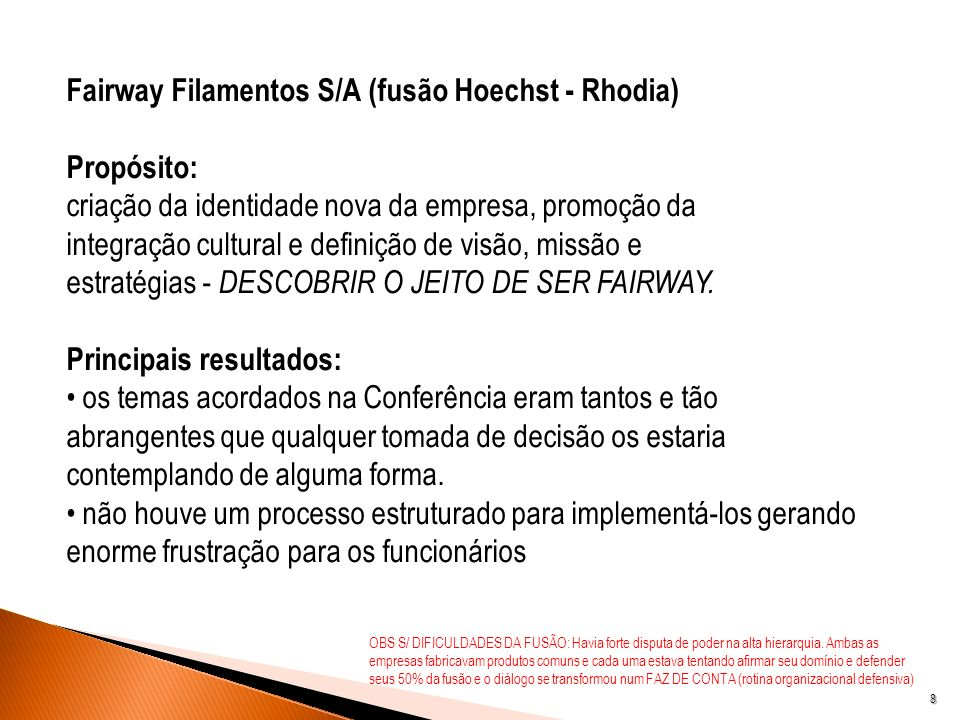 Fairway Filamentos S/A (fusão Hoechst - Rhodia) Propósito: