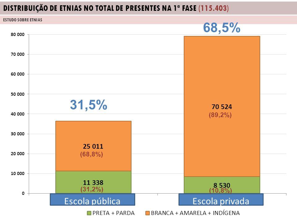DISTRIBUIÇÃO DE ETNIAS NO TOTAL DE PRESENTES NA 1ª FASE (115.403)