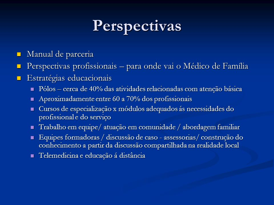 Perspectivas Manual de parceria