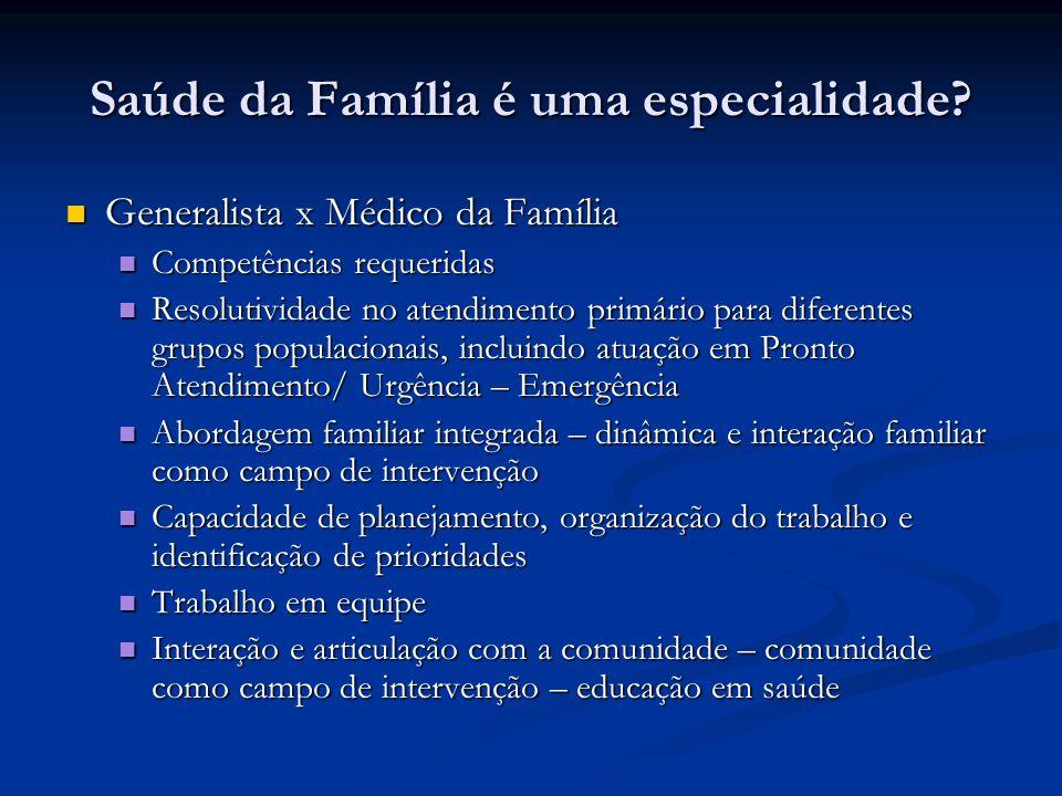Saúde da Família é uma especialidade
