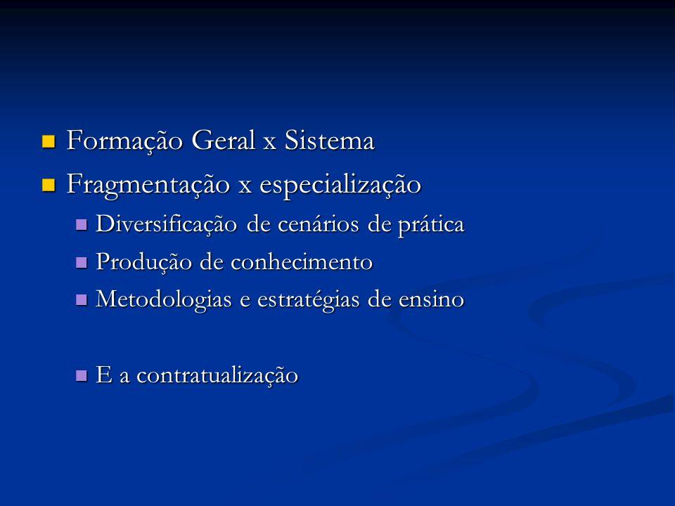 Formação Geral x Sistema Fragmentação x especialização