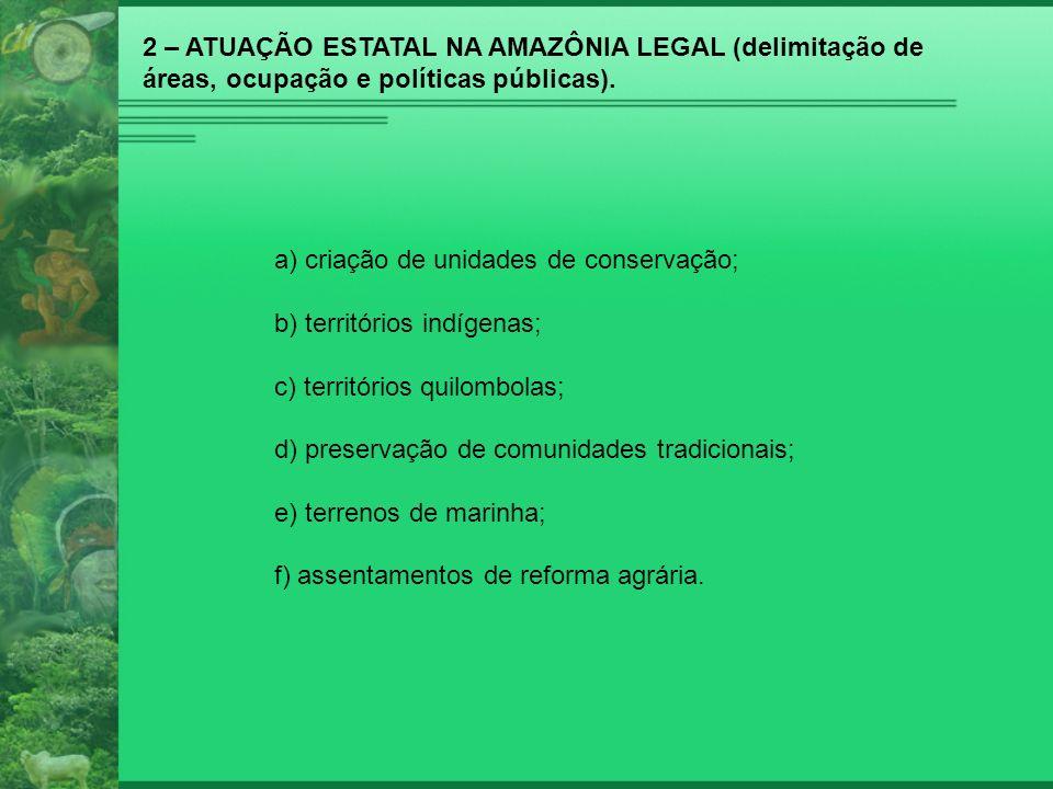 2 – ATUAÇÃO ESTATAL NA AMAZÔNIA LEGAL (delimitação de áreas, ocupação e políticas públicas).