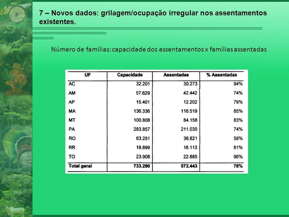 7 – Novos dados: grilagem/ocupação irregular nos assentamentos existentes.