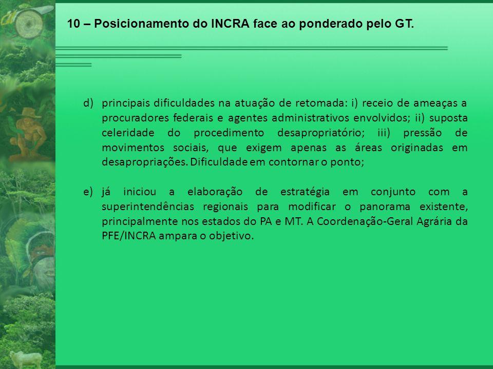10 – Posicionamento do INCRA face ao ponderado pelo GT.
