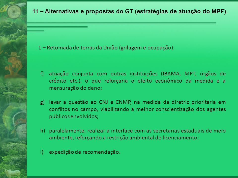 11 – Alternativas e propostas do GT (estratégias de atuação do MPF).