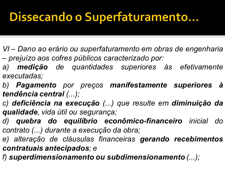 Dissecando o Superfaturamento...
