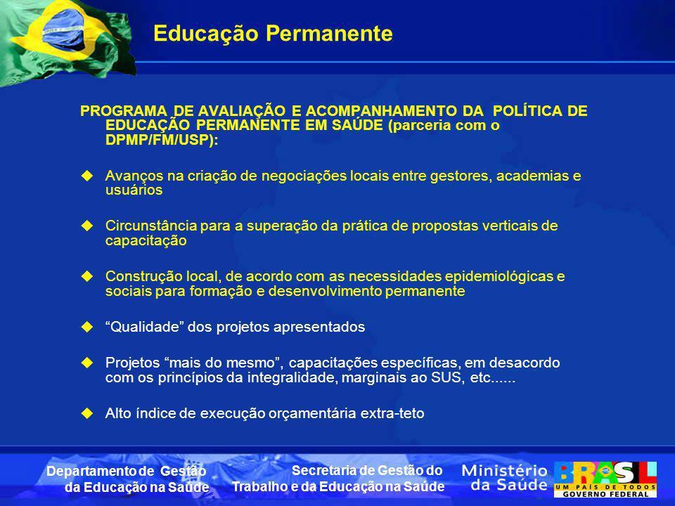 Educação PermanentePROGRAMA DE AVALIAÇÃO E ACOMPANHAMENTO DA POLÍTICA DE EDUCAÇÃO PERMANENTE EM SAÚDE (parceria com o DPMP/FM/USP):