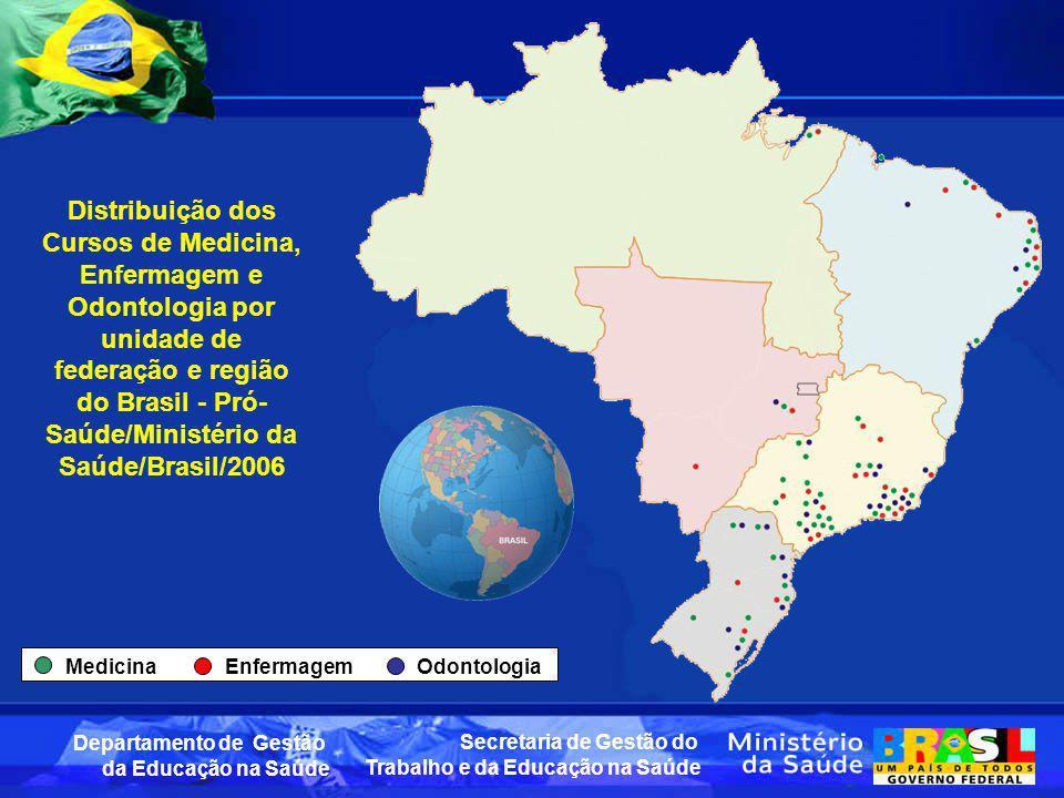 Distribuição dos Cursos de Medicina, Enfermagem e Odontologia por unidade de federação e região do Brasil - Pró-Saúde/Ministério da Saúde/Brasil/2006