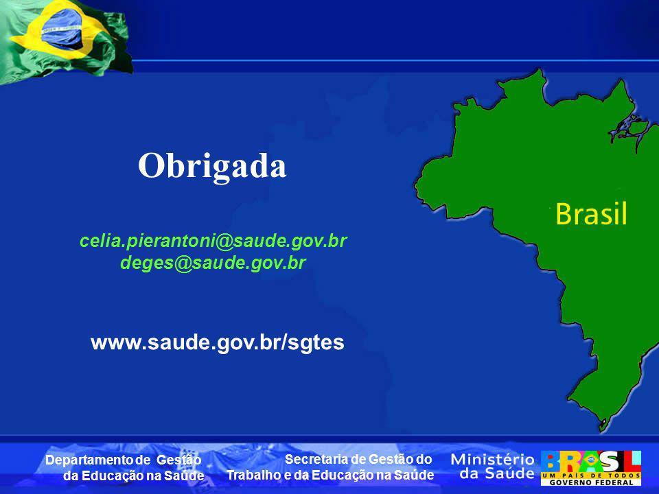 Obrigada www.saude.gov.br/sgtes celia.pierantoni@saude.gov.br