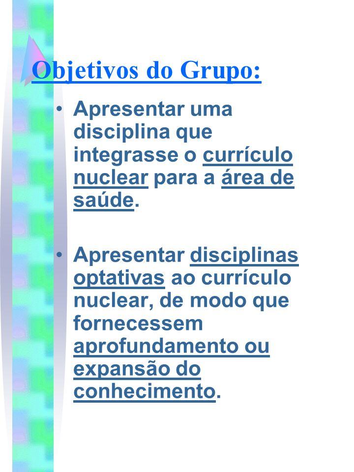 Objetivos do Grupo:Apresentar uma disciplina que integrasse o currículo nuclear para a área de saúde.