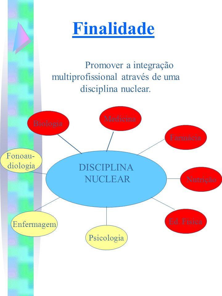 Finalidade Promover a integração multiprofissional através de uma disciplina nuclear. Medicina. Biologia.