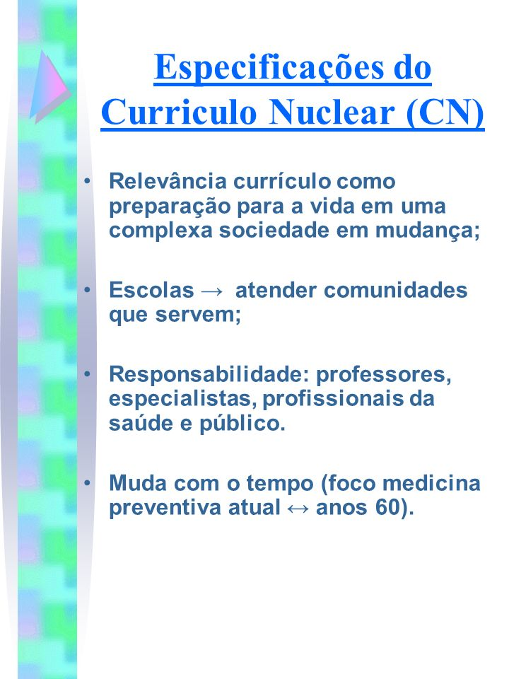 Especificações do Curriculo Nuclear (CN)