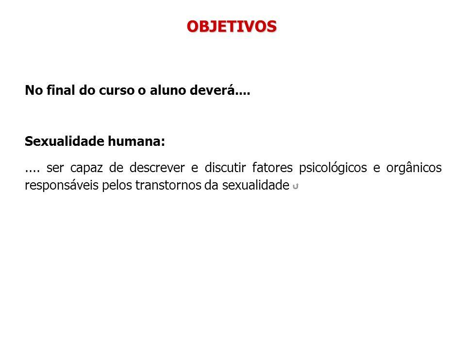 OBJETIVOS No final do curso o aluno deverá.... Sexualidade humana: