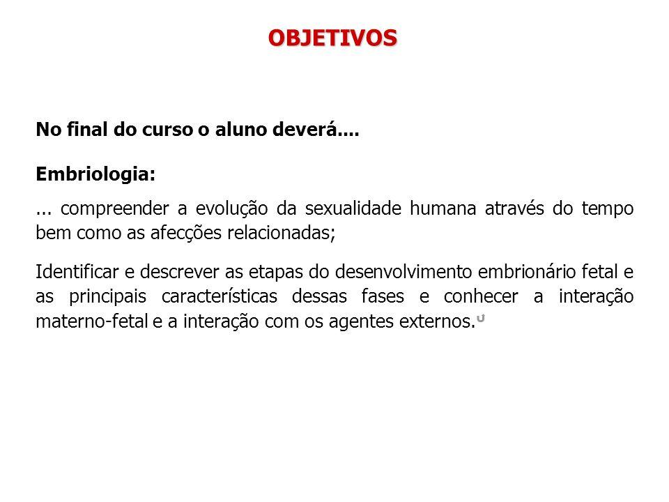 OBJETIVOS No final do curso o aluno deverá.... Embriologia: