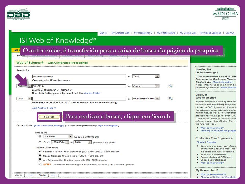 O autor então, é transferido para a caixa de busca da página da pesquisa.