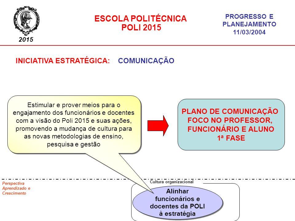 PLANO DE COMUNICAÇÃO FOCO NO PROFESSOR, FUNCIONÁRIO E ALUNO 1ª FASE