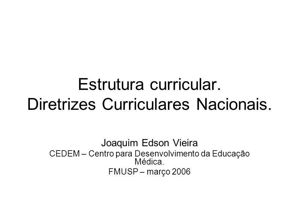 Estrutura curricular. Diretrizes Curriculares Nacionais.