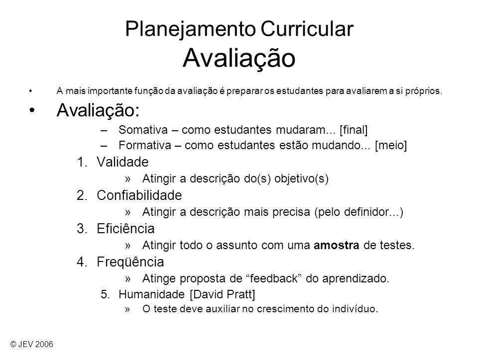 Planejamento Curricular Avaliação