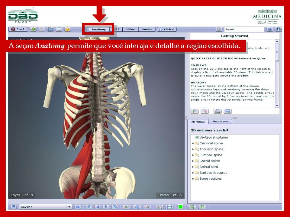 A seção Anatomy permite que você interaja e detalhe a região escolhida.