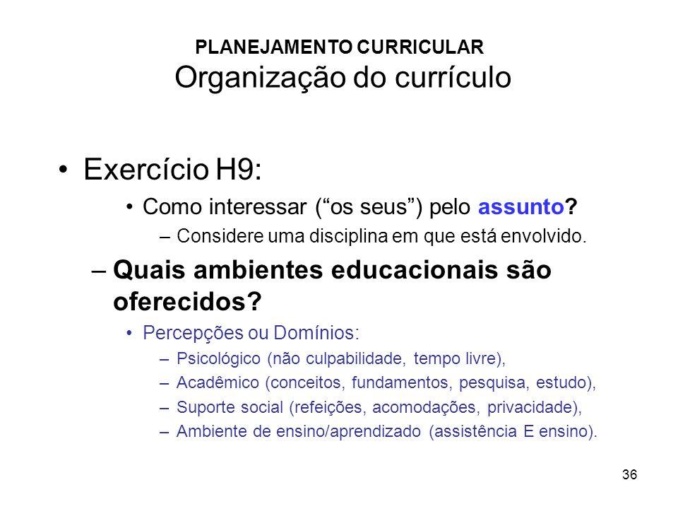 PLANEJAMENTO CURRICULAR Organização do currículo