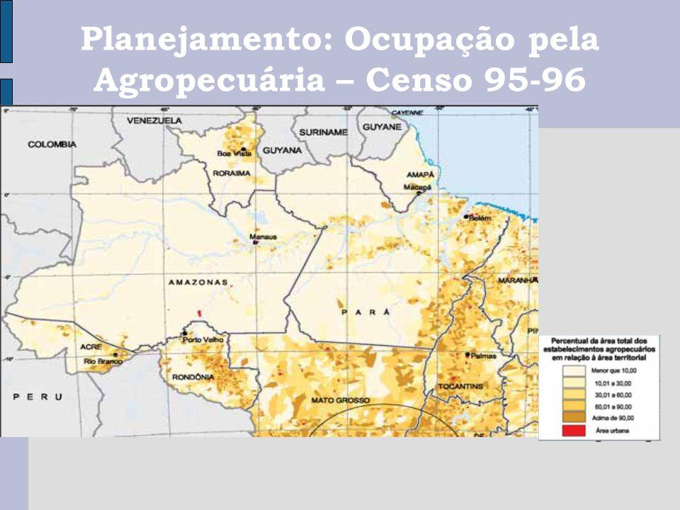 Planejamento: Ocupação pela Agropecuária – Censo 95-96