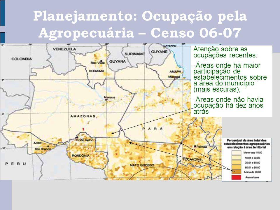 Planejamento: Ocupação pela Agropecuária – Censo 06-07