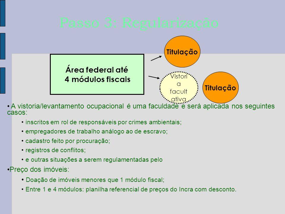Passo 3: Regularização Área federal até 4 módulos fiscais Titulação