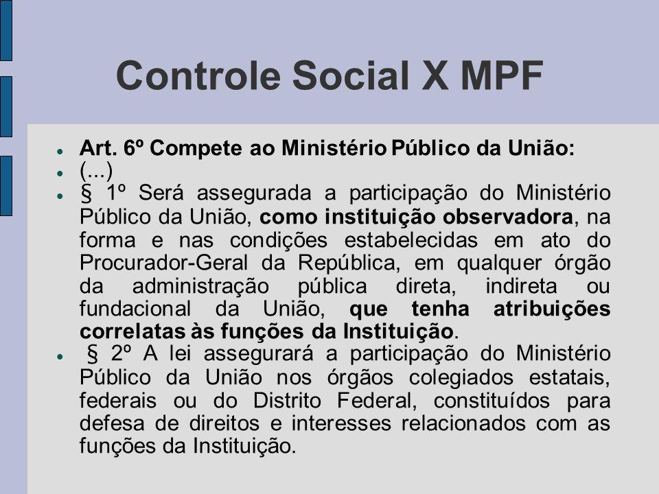Controle Social X MPF Art. 6º Compete ao Ministério Público da União: