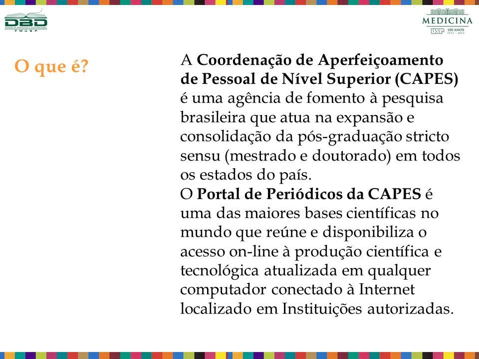 A Coordenação de Aperfeiçoamento de Pessoal de Nível Superior (CAPES) é uma agência de fomento à pesquisa brasileira que atua na expansão e consolidação da pós-graduação stricto sensu (mestrado e doutorado) em todos os estados do país. O Portal de Periódicos da CAPES é uma das maiores bases científicas no mundo que reúne e disponibiliza o acesso on-line à produção científica e tecnológica atualizada em qualquer computador conectado à Internet localizado em Instituições autorizadas.