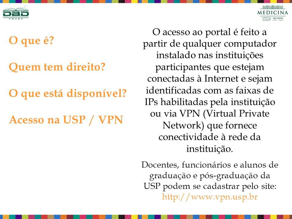 O que é Quem tem direito O que está disponível Acesso na USP / VPN