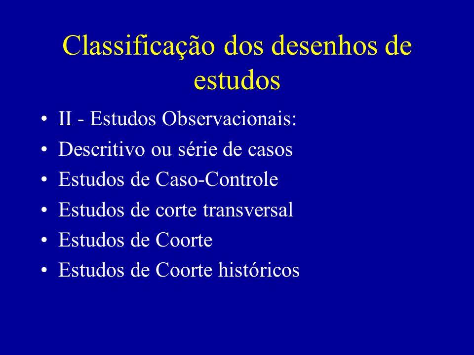 Classificação dos desenhos de estudos