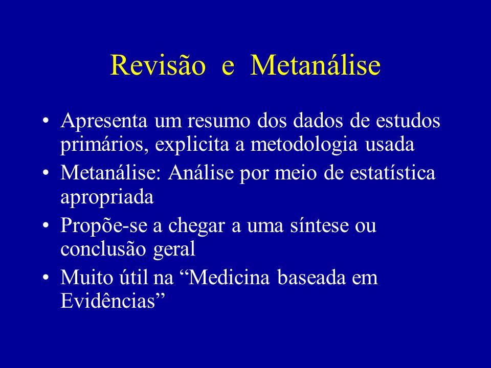 Revisão e Metanálise Apresenta um resumo dos dados de estudos primários, explicita a metodologia usada.