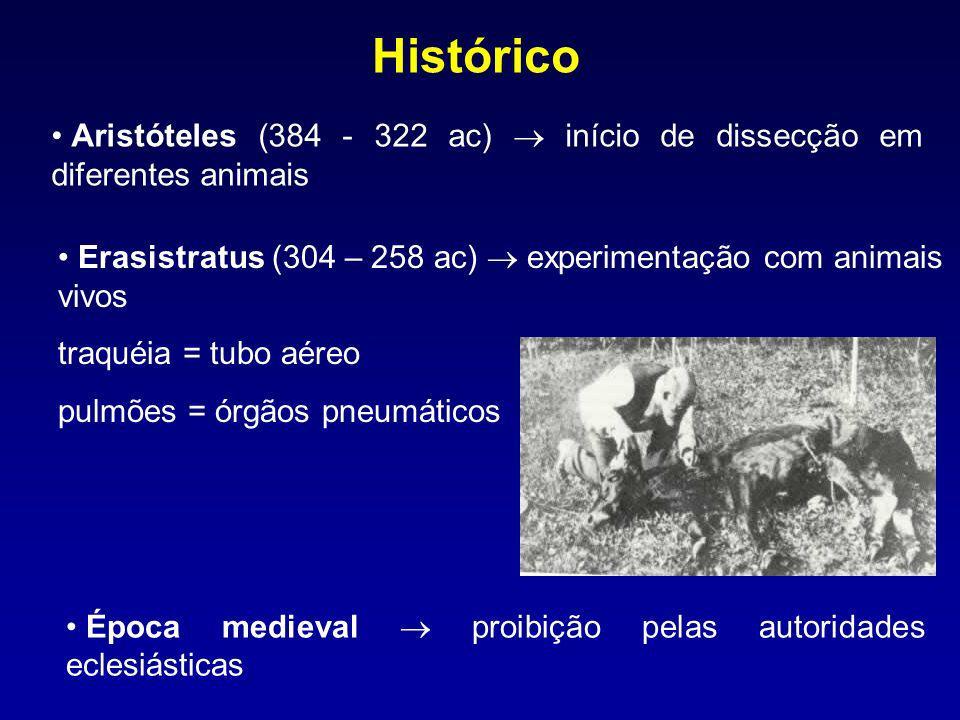 Histórico Aristóteles (384 - 322 ac)  início de dissecção em diferentes animais. Erasistratus (304 – 258 ac)  experimentação com animais vivos.