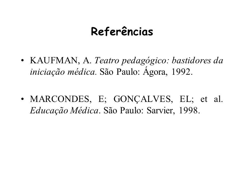 Referências KAUFMAN, A. Teatro pedagógico: bastidores da iniciação médica. São Paulo: Ágora, 1992.