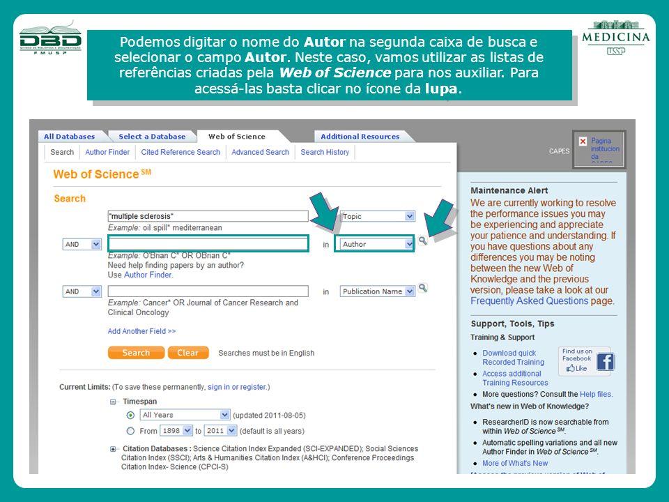 Podemos digitar o nome do Autor na segunda caixa de busca e selecionar o campo Autor.