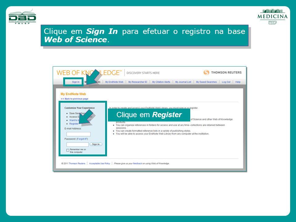 Clique em Sign In para efetuar o registro na base Web of Science.