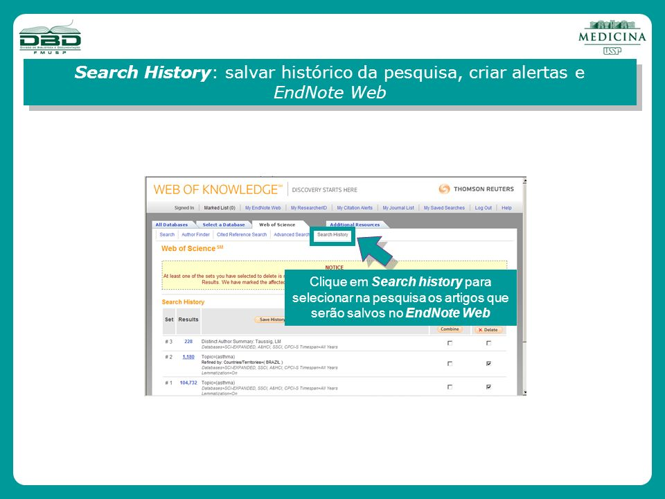 Search History: salvar histórico da pesquisa, criar alertas e EndNote Web