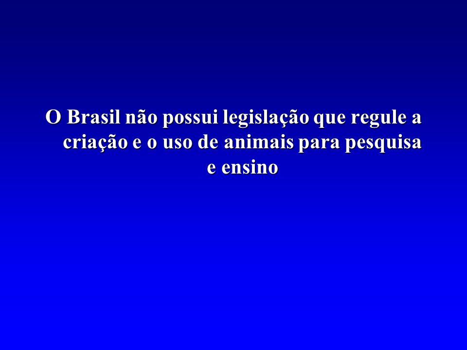 O Brasil não possui legislação que regule a criação e o uso de animais para pesquisa e ensino