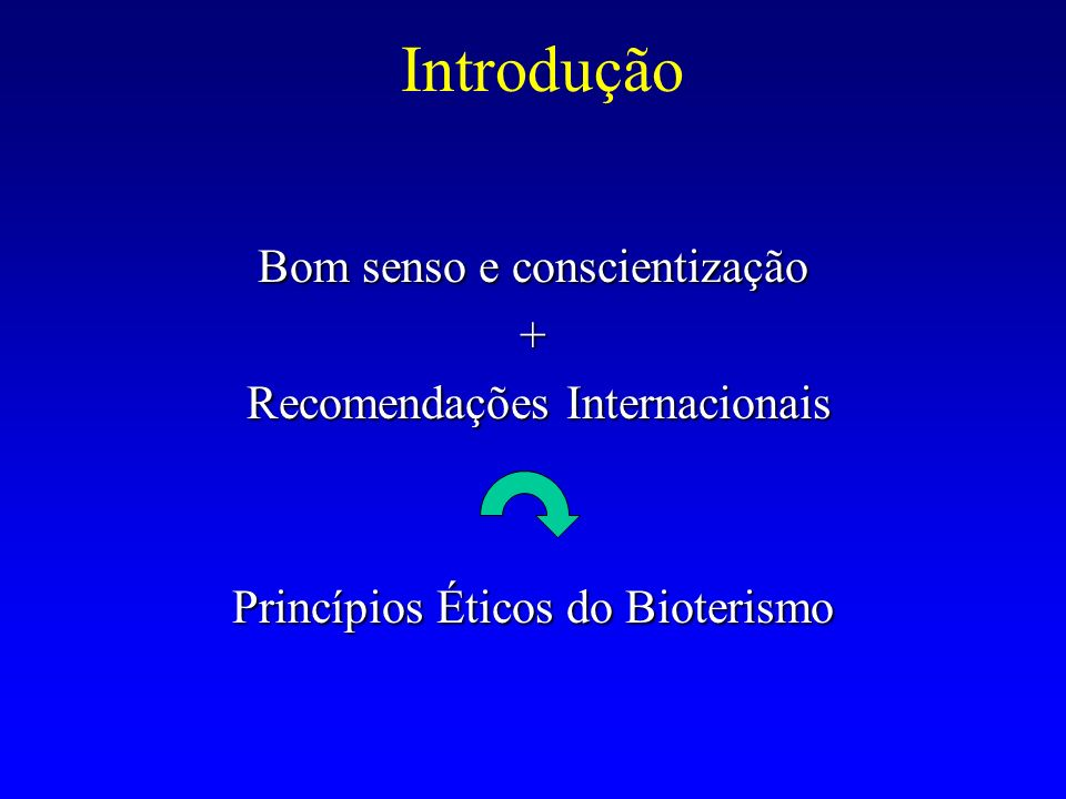 Introdução Bom senso e conscientização + Recomendações Internacionais